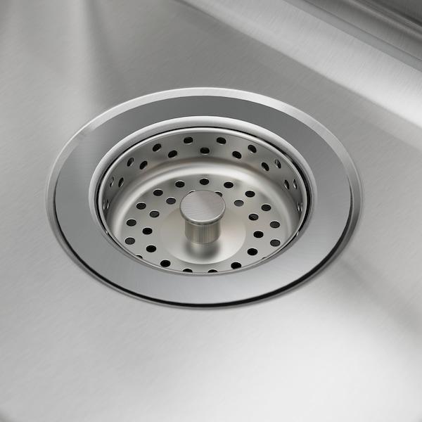 VATTUDALEN Évier intégré, 1 bac ½ av égouttoir, acier inoxydable, 88x53 cm