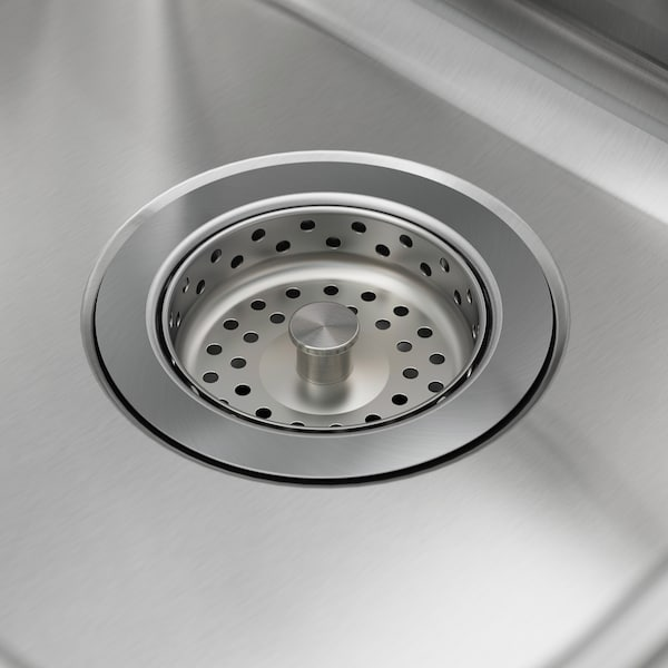 VATTUDALEN Évier intégré, 1 bac avec égouttoir, acier inoxydable, 69x47 cm