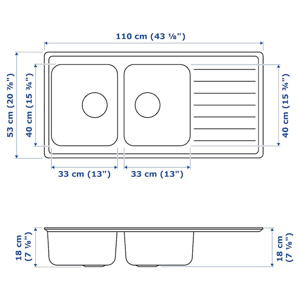 VATTUDALEN Évier intégré, 2 bacs av égouttoir, acier inoxydable, 110x53 cm