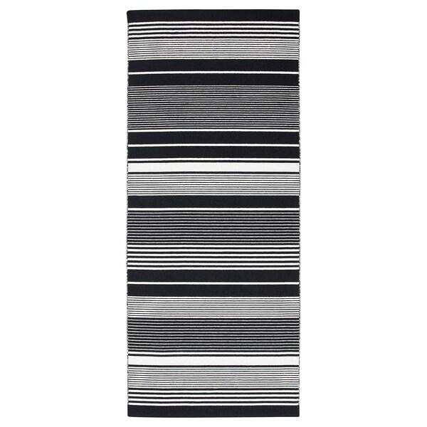 Tapis tissé à plat VESLÖS noir/blanc, rayure