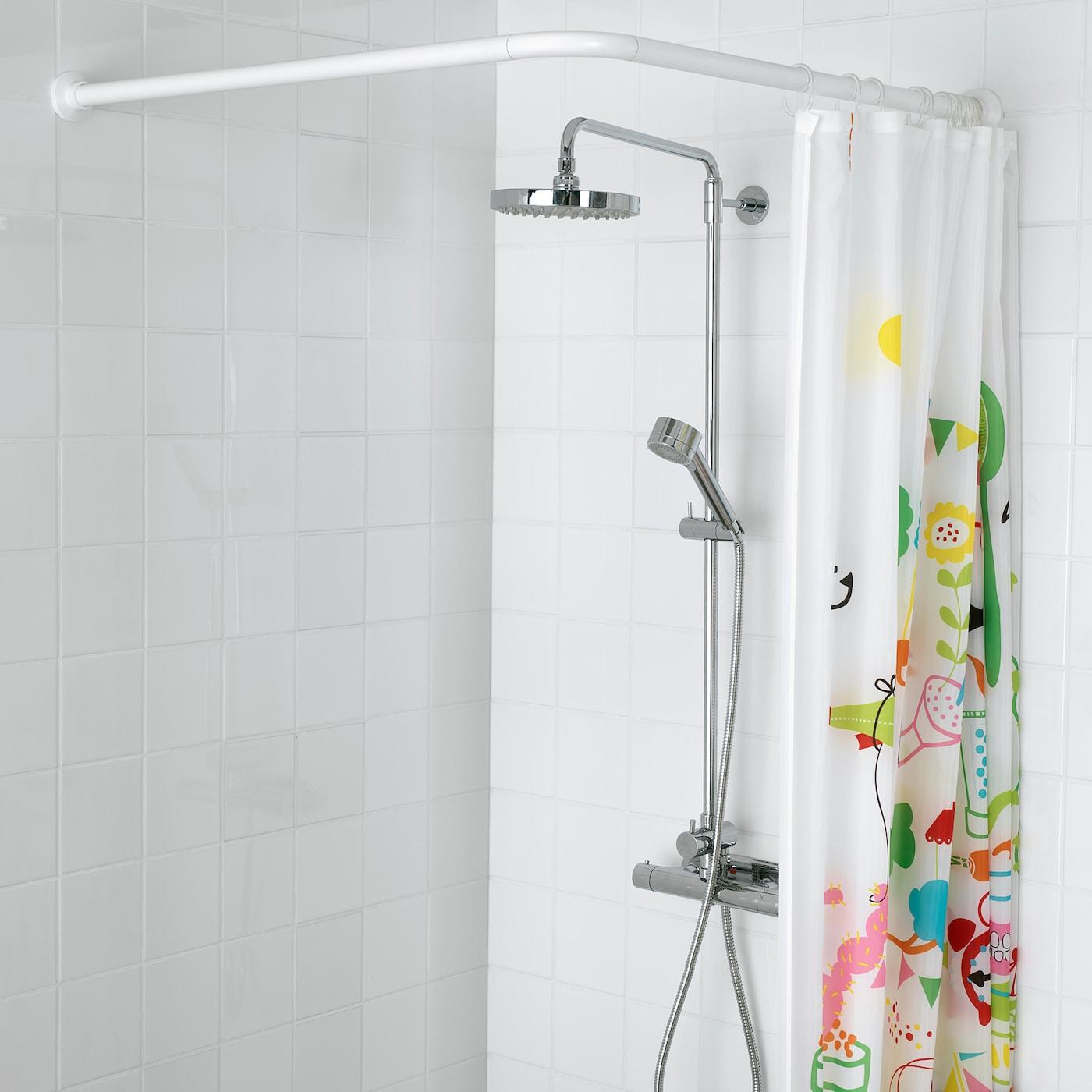 VIKARN Tringle à rideau de douche - blanc