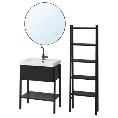 VILTO / ODENSVIK Mobilier salle de bain, 5 pièces, noir/LUNDSKÄR mitigeur, 65x49x86 cm