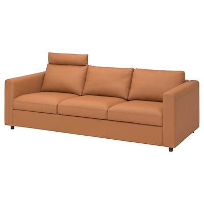 VIMLE Canapé 3 places, avec appuie-tête/Grann/Bomstad brun doré