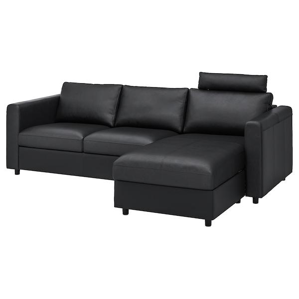 VIMLE Canapé 3 places, avec méridienne avec appuie-tête/Grann/Bomstad noir