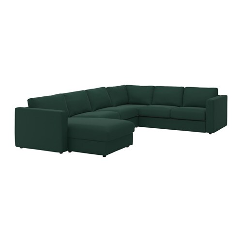 vimle housse canap d 39 angle 5 places avec m ridienne gunnared vert fonc ikea. Black Bedroom Furniture Sets. Home Design Ideas