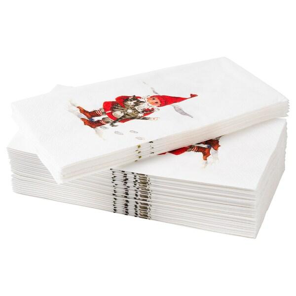VINTER 2020 Serviettes en papier, motif Père Noël blanc/rouge, 38x38 cm