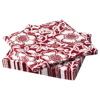 VINTER 2020 Serviettes en papier, Motif rose de Noël rouge/blanc, 33x33 cm