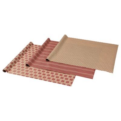 VINTER 2021 Papier cadeau, motif étoilé beige/rouge, 3x0.7 m/2.10 m²x3 pièces