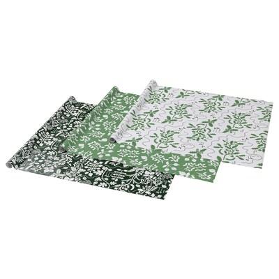 VINTER 2021 Papier cadeau, motif feuille blanc/vert, 3x0.7 m/2.10 m²x3 pièces