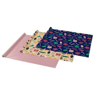 VINTER 2021 Papier cadeau, motif Noël multicolore, 3x0.7 m/2.10 m²x3 pièces