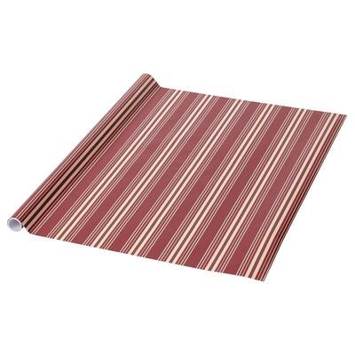 VINTER 2021 Papier cadeau, motif rayé rouge/beige, 3x0.7 m