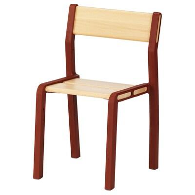 YPPERLIG Chaise enfant, hêtre/rouge foncé