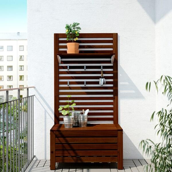 ÄPPLARÖ Panca/pannello+ripiano da giardino, mordente marrone, 80x44x158 cm
