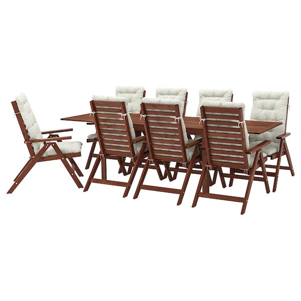 ÄPPLARÖ tavolo+8 sedie relax, da giardino mordente marrone/Kuddarna beige