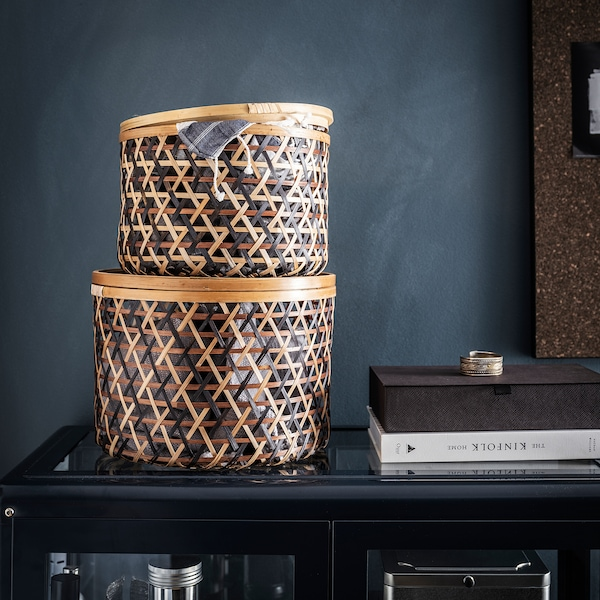 ANILINARE Set di 2 scatole con coperchio, bambù nero/marrone