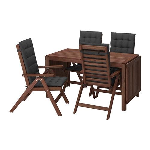 Tavoli Da Giardino In Legno Ikea.Applaro Tavolo 4 Sedie Relax Da Giardino Mordente Marrone Hallo Nero