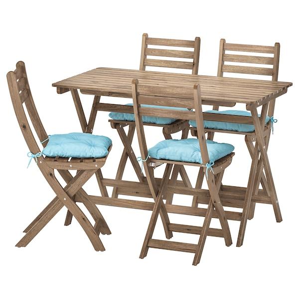 Ikea Sedie Pieghevoli Legno.Askholmen Tavolo 4 Sedie Pieghevoli Giardino Mordente Grigio