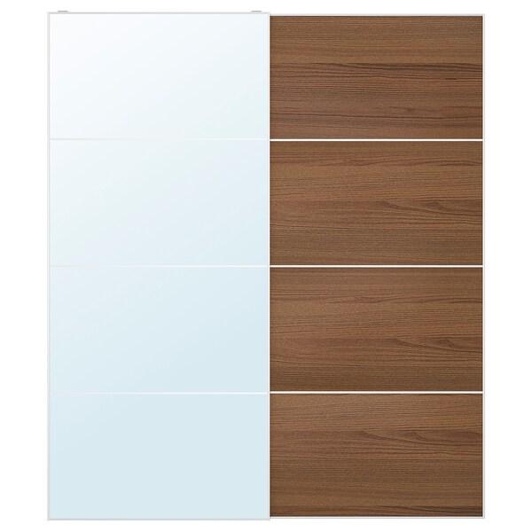 AULI / MEHAMN Coppia di ante scorrevoli, vetro a specchio/effetto frassino mordente marrone, 200x236 cm