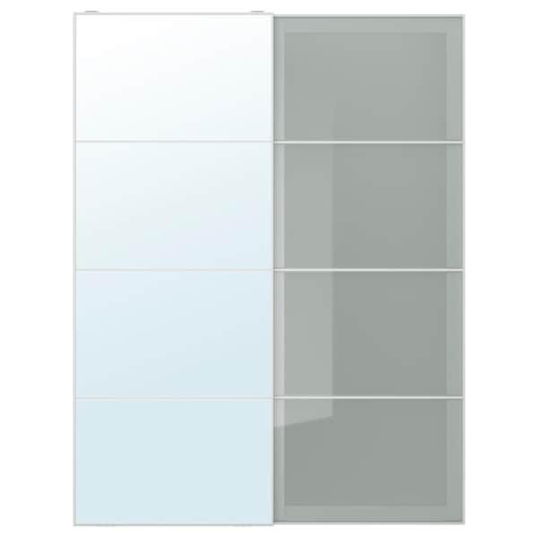 AULI / SEKKEN coppia di ante scorrevoli vetro a specchio/vetro smerigliato 150.0 cm 201.0 cm 8.0 cm 2.3 cm