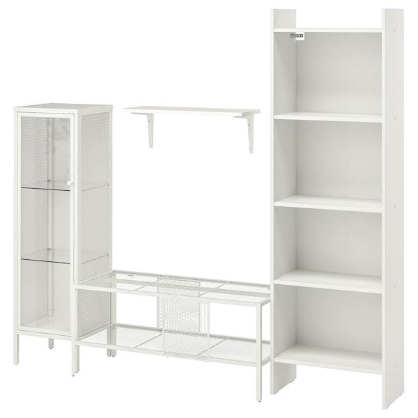 BAGGEBO Combinazione per TV, metallo/bianco, 174x35x160 cm