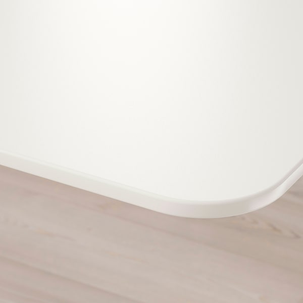 BEKANT Scrivania angolare sx regolabile, bianco, 160x110 cm