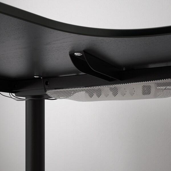 BEKANT Scrivania angolare sx regolabile, impiallacc frassino/mordente nero/nero, 160x110 cm