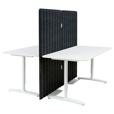BEKANT Scrivania con schermo divisorio, bianco/grigio scuro, 160x160 150 cm