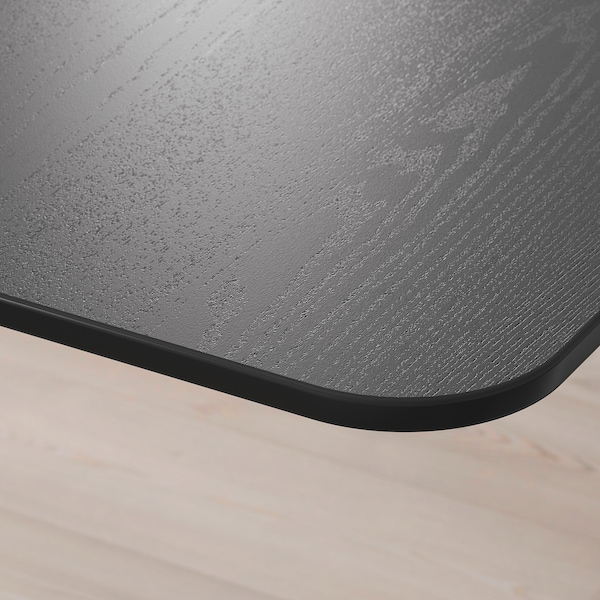 BEKANT Scrivania h regolabile/divisorio, impiallacc frassino/mordente nero/bianco, 160x160 120 cm