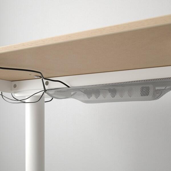 BEKANT Scrivania regolabile in altezza, impiallacciato rovere mord bianco/bianco, 160x80 cm