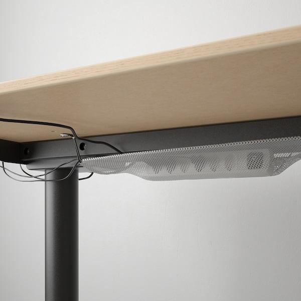 BEKANT Scrivania regolabile in altezza, impiallacciato rovere mord bianco/nero, 160x80 cm