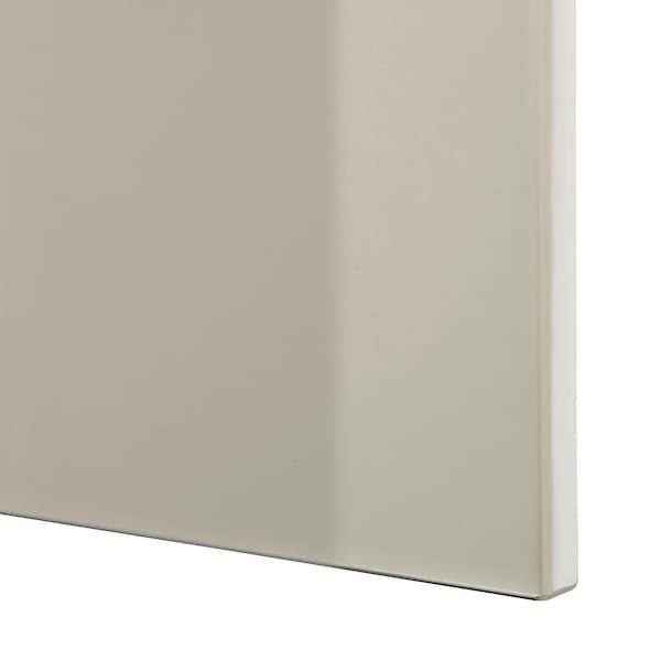 BESTÅ Combinazione + ante/cassetti, bianco/Selsviken lucido/beige, 120x42x65 cm