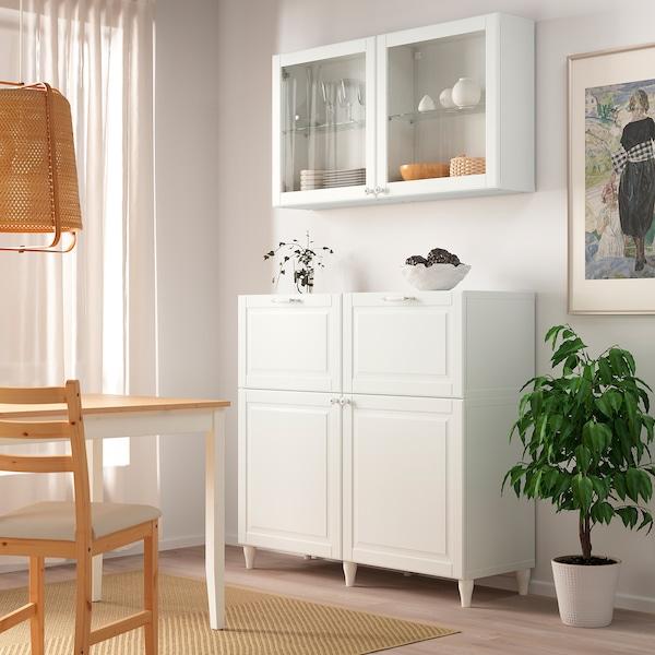 BESTÅ Combinazione + ante/cassetti, bianco Smeviken/Ostvik/Kabbarp vetro trasparente bianco, 120x42x240 cm