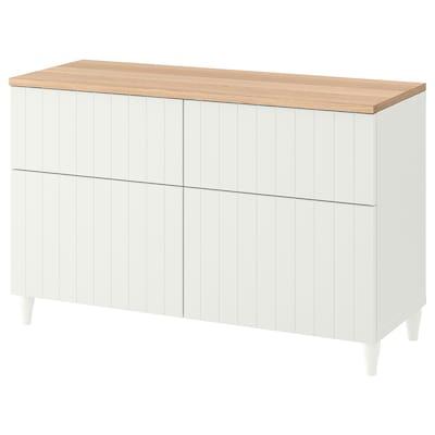 BESTÅ Combinazione + ante/cassetti, bianco/Sutterviken/Kabbarp bianco, 120x42x76 cm