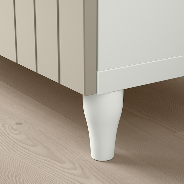 BESTÅ Combinazione + ante/cassetti, bianco Sutterviken/Kabbarp/grigio-beige vetro trasparente, 120x42x240 cm