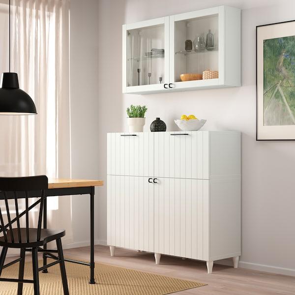 BESTÅ Combinazione + ante/cassetti, bianco/Sutterviken/Kabbarp vetro trasparente bianco, 120x42x240 cm