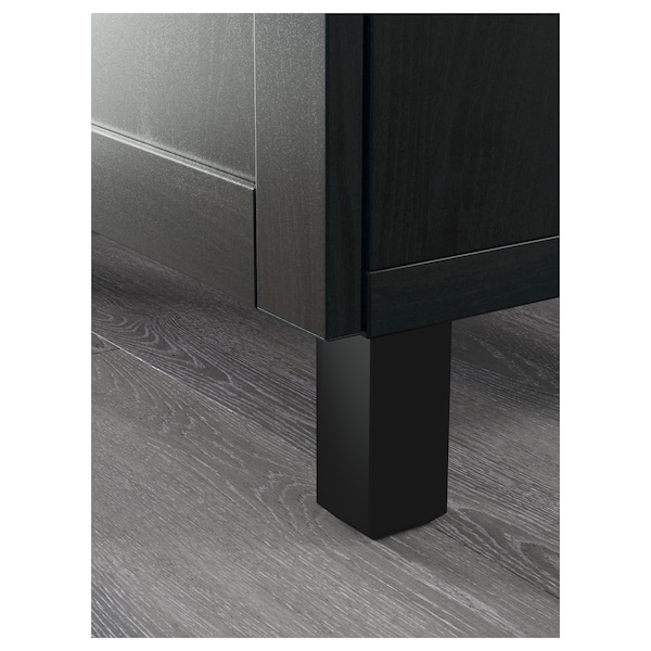 BESTÅ Combinazione + ante/cassetti, marrone-nero/Hanviken/Stubbarp vetro trasparente marrone-nero, 120x42x240 cm