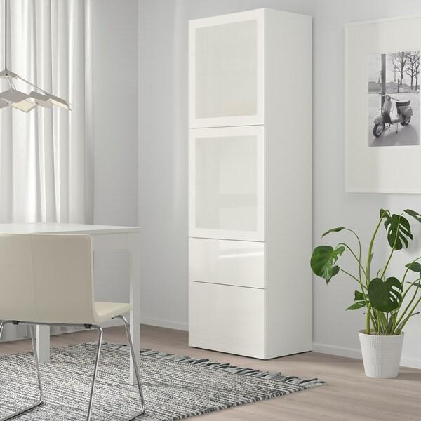 BESTÅ Combinazione con ante a vetro, bianco/Selsviken lucido/vetro smerigliato bianco, 60x42x193 cm