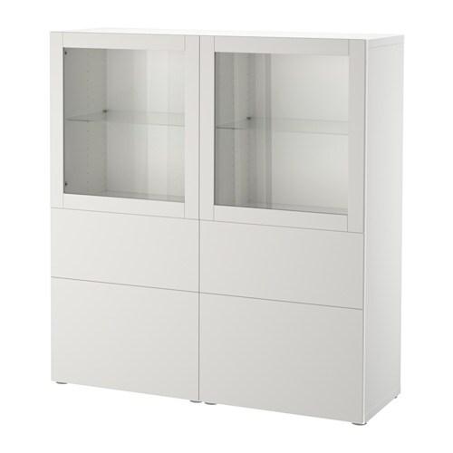 BESTÅ - Combinazione con ante a vetro, bianco, Lappviken vetro trasparente  grigio chiaro