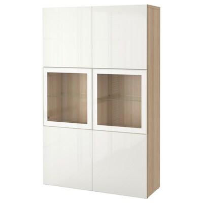 BESTÅ Combinazione con ante a vetro, effetto rovere mordente bianco/Selsviken lucido/vetro trasparente bianco, 120x42x193 cm