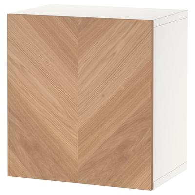 BESTÅ Combinazione di mobili da parete, bianco/Hedeviken rovere, 60x42x64 cm