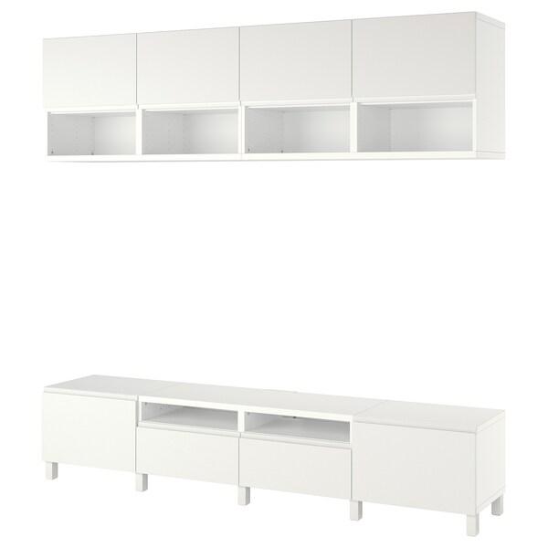 BESTÅ Combinazione per TV, bianco/Västerviken/Stubbarp bianco, 240x42x230 cm