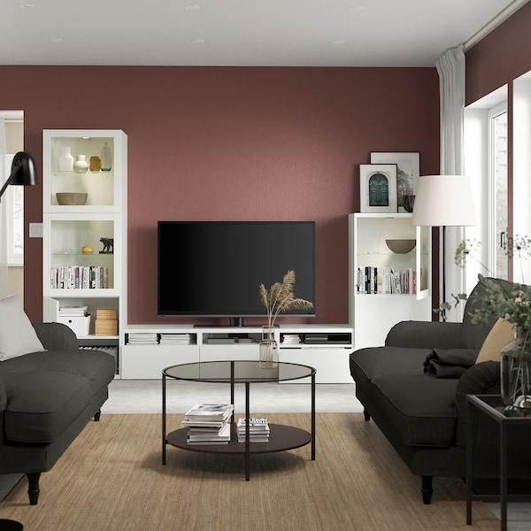 BESTÅ Combinazione TV/ante a vetro, bianco/Lappviken vetro trasparente bianco, 300x42x193 cm