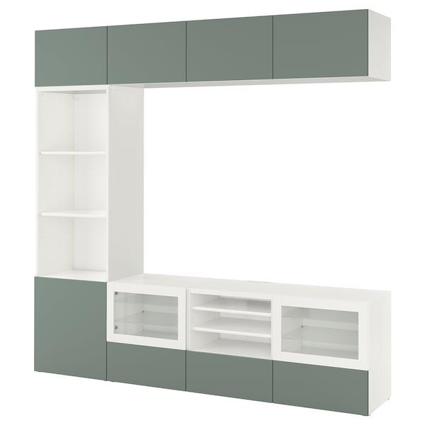 BESTÅ Combinazione TV/ante a vetro, bianco/Notviken vetro trasparente grigio-verde, 240x42x230 cm