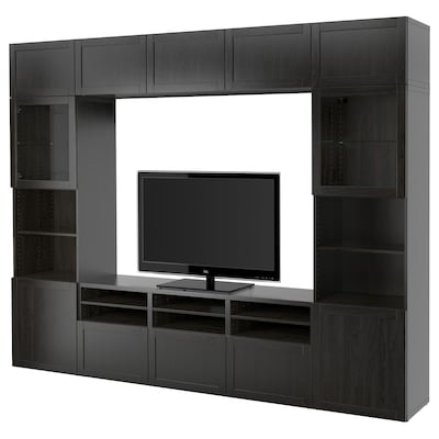 BESTÅ Combinazione TV/ante a vetro, Hanviken/Sindvik vetro trasparente marrone-nero, 300x40x230 cm