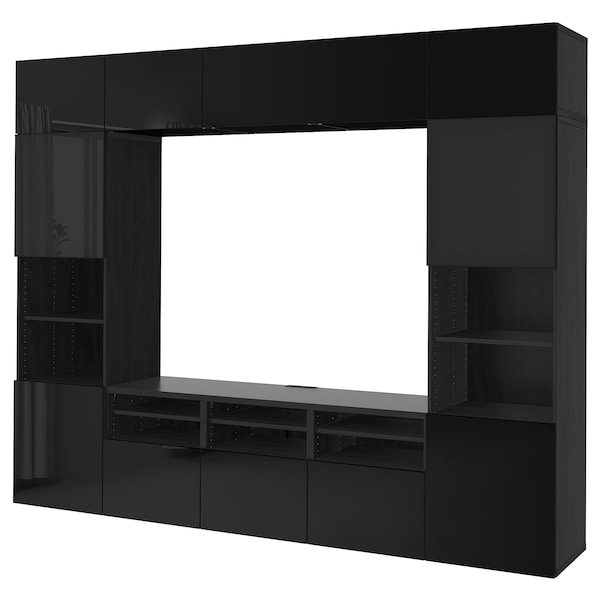 BESTÅ Combinazione TV/ante a vetro, marrone-nero/Selsviken lucido/vetro fumé nero, 300x40x230 cm