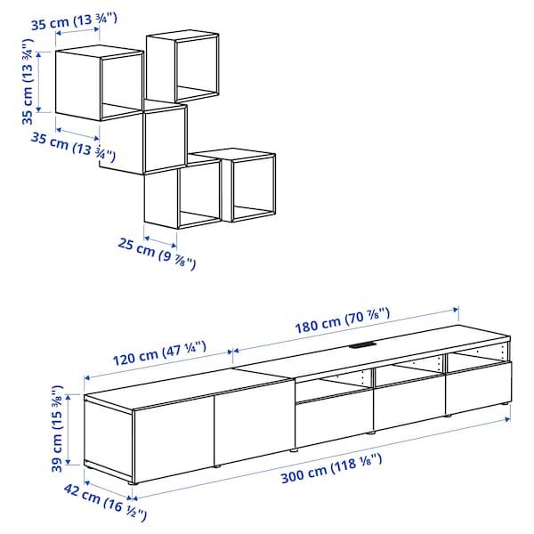 BESTÅ / EKET Combinazione di mobili per TV, marrone-nero/grigio scuro grigio-turchese, 300x42x210 cm