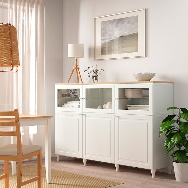 BESTÅ Mobile con ante, bianco/Smeviken/Kabbarp vetro trasparente bianco, 180x42x114 cm