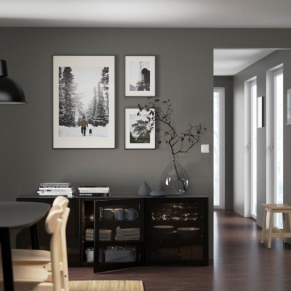 BESTÅ Mobile con ante, marrone-nero/Glassvik vetro nero/fumé, 180x42x65 cm