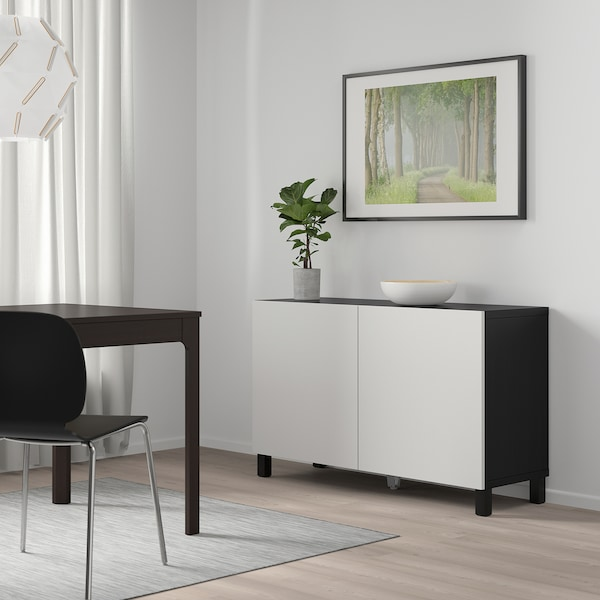 BESTÅ Mobile con ante, marrone-nero/Lappviken grigio chiaro, 120x42x65 cm