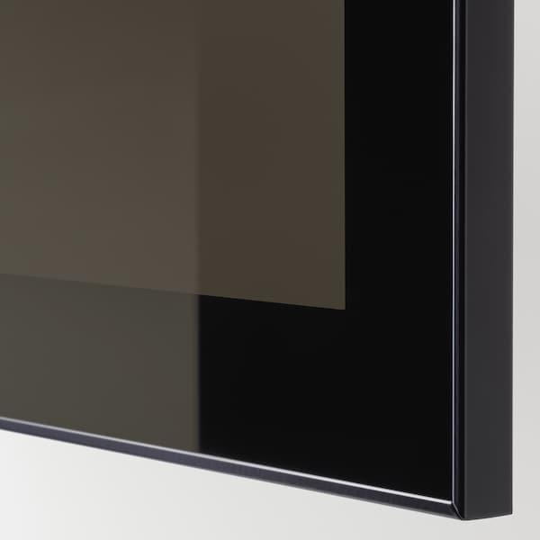 BESTÅ Mobile con ante, marrone-nero Selsviken/Glassvik lucido/vetro fumé nero, 180x42x112 cm